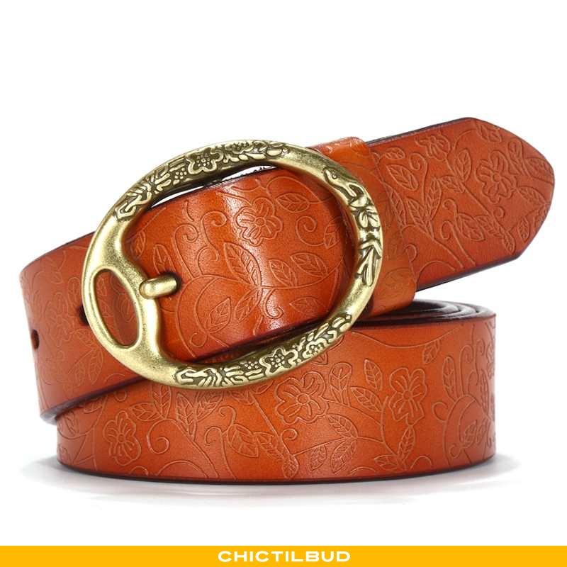 Bælte Dame Cowboybukser Læder Tryk Kvinde