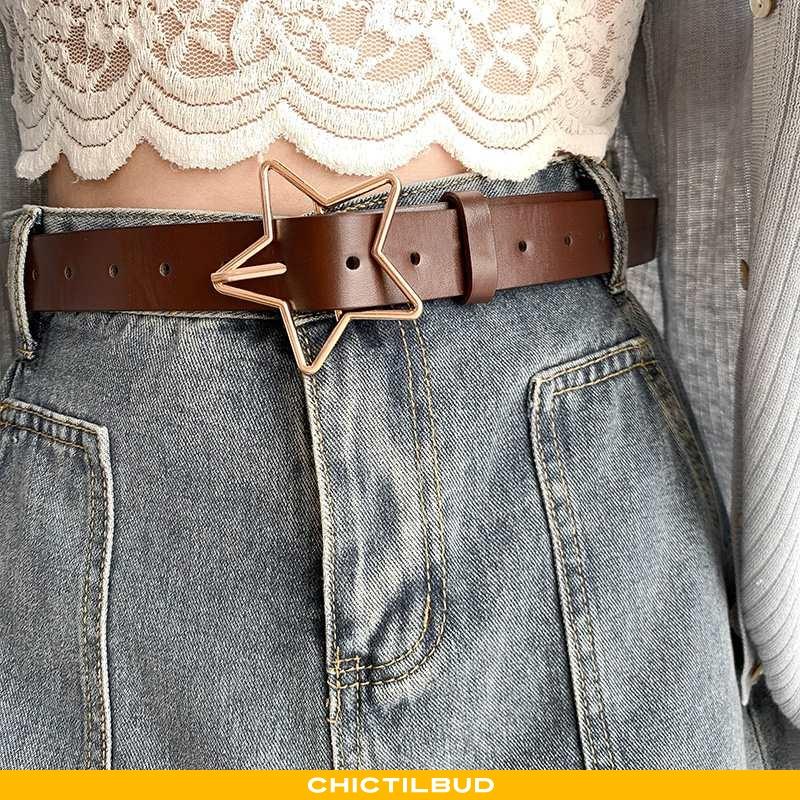 Bælte Dame Læder Mode Pin Spænde