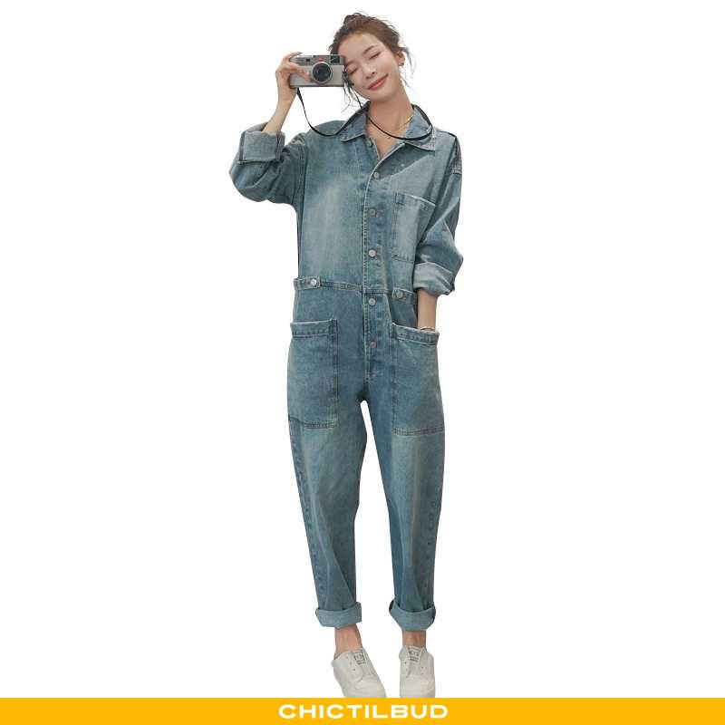 Bukser Dame Buksedragt Denim Mode Hvid