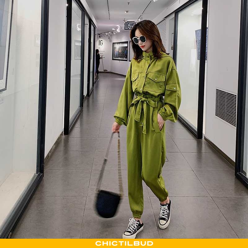 Bukser Dame Buksedragt Med Hætte Grøn