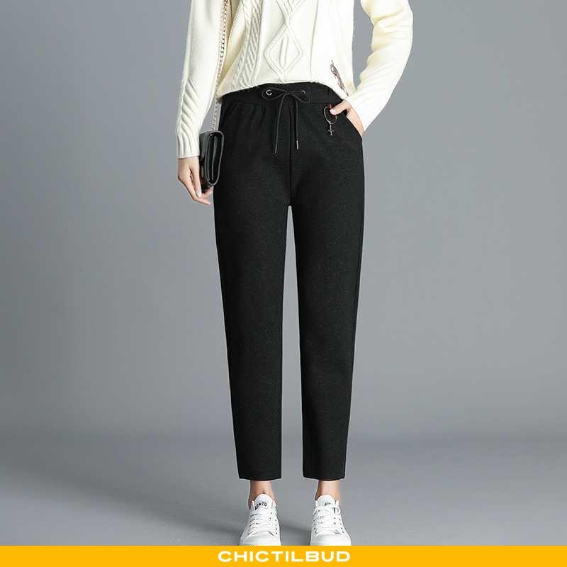 Bukser Dame Skinny Lommer Sort