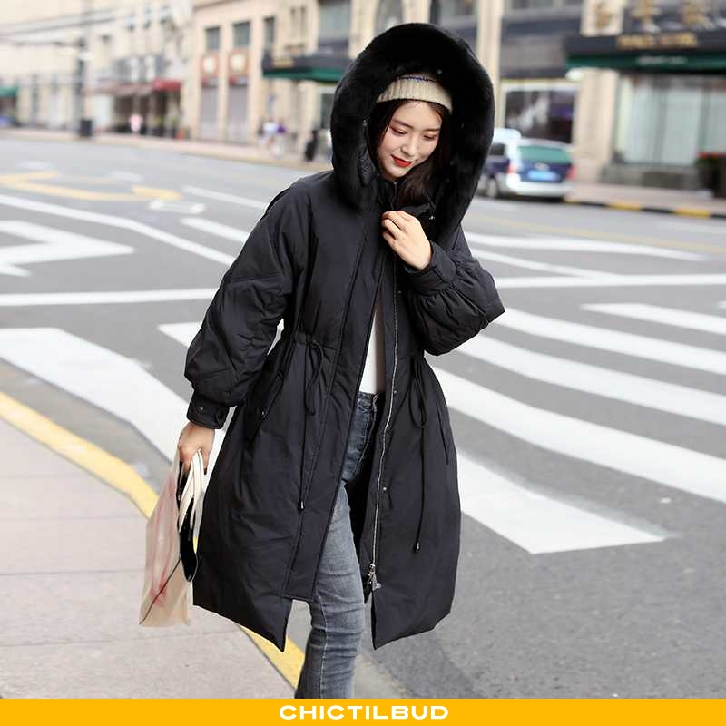 Dunjakke Dame Mode Hver Dag Sort