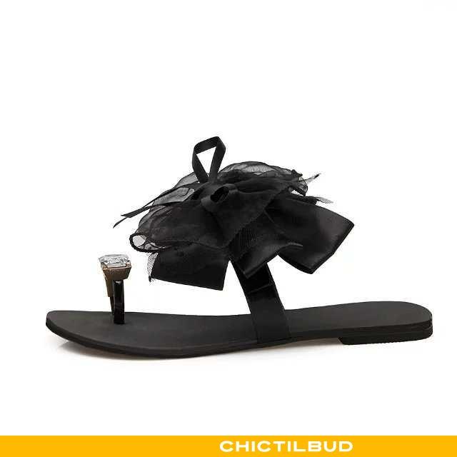 Flip Flop Dame Sandaler Flade Sort