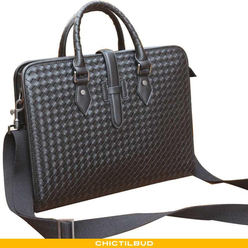 Håndtaske Herre Læder Business Vævet