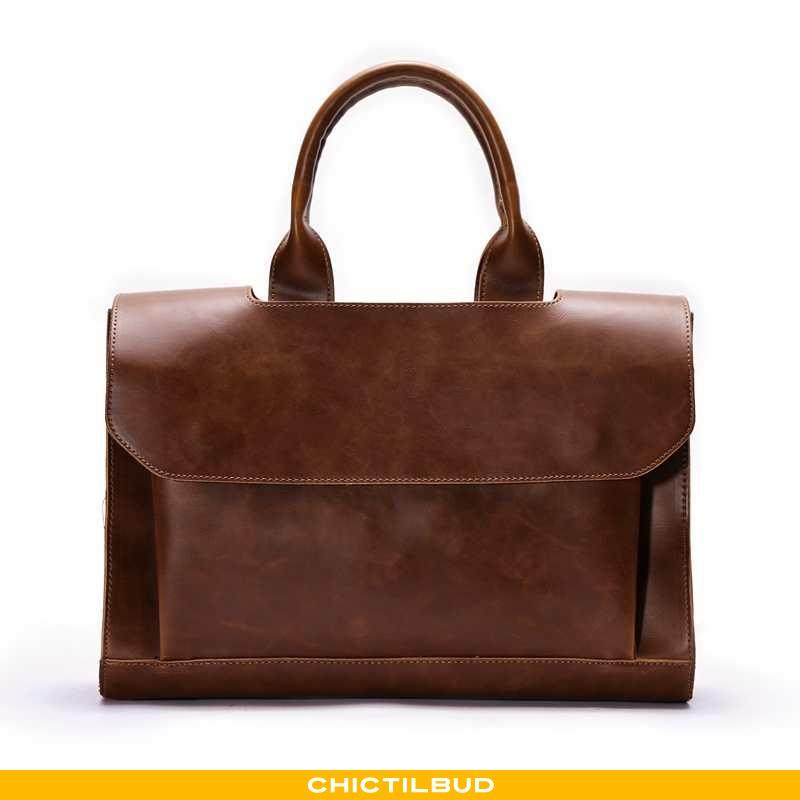 Håndtaske Herre Messenger Taske Læder Trend Brun