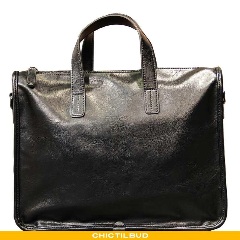 Håndtaske Herre Messenger Taske Læder Trend Sort