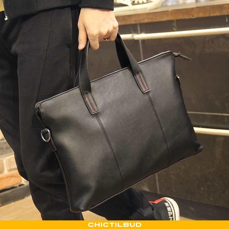 Håndtaske Herre Rejsetaske Læder Business Sort