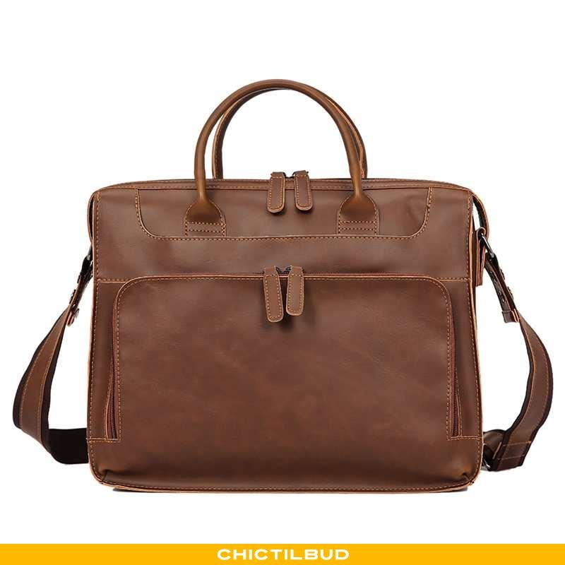 Håndtaske Herre Rejsetaske Læder Mode Brun