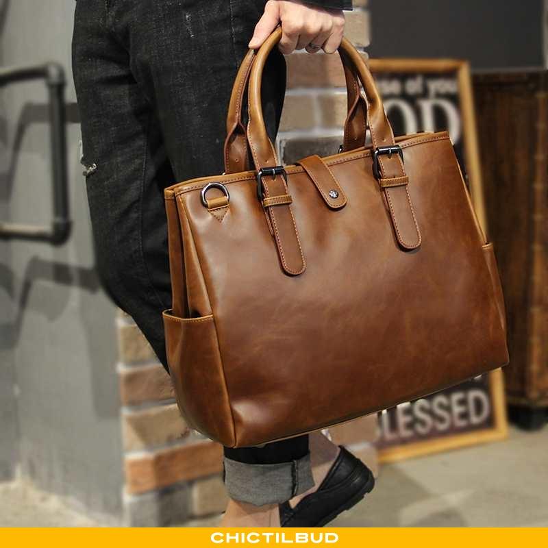 Håndtaske Herre Rejsetaske Læder Trend Ny