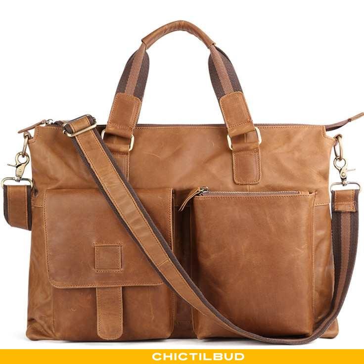 Håndtaske Herre Rejsetaske Læder Vintage Brun