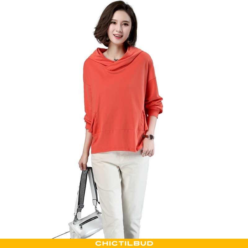 Hættetrøje Dame Elegante Ren Orange