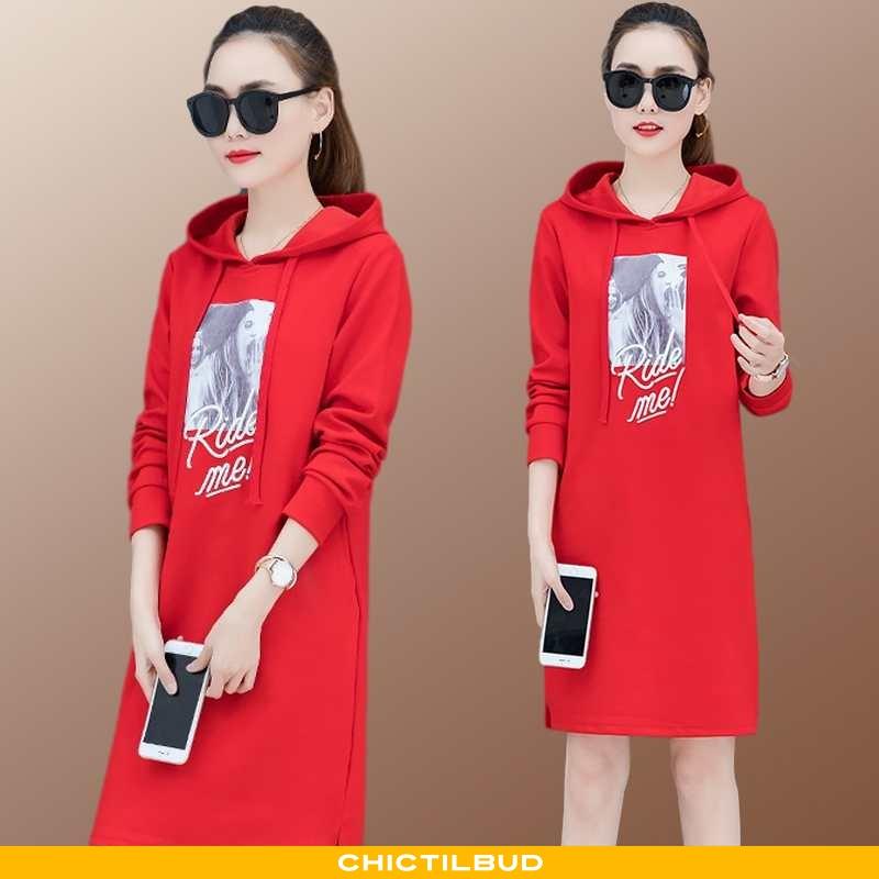 Hættetrøje Dame Kjole Løse Rød