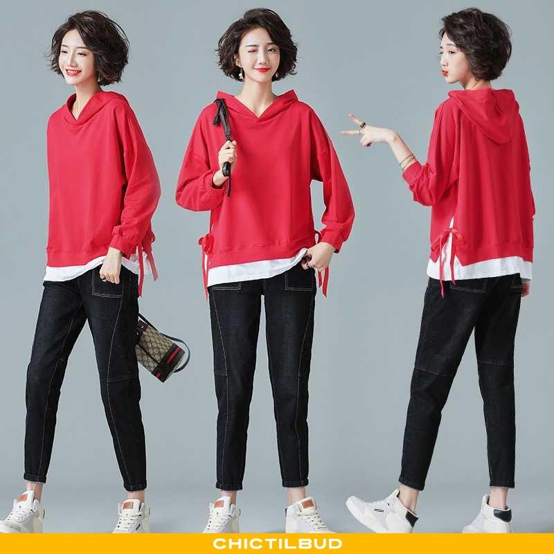 Hættetrøje Dame Mode Hver Dag Rød