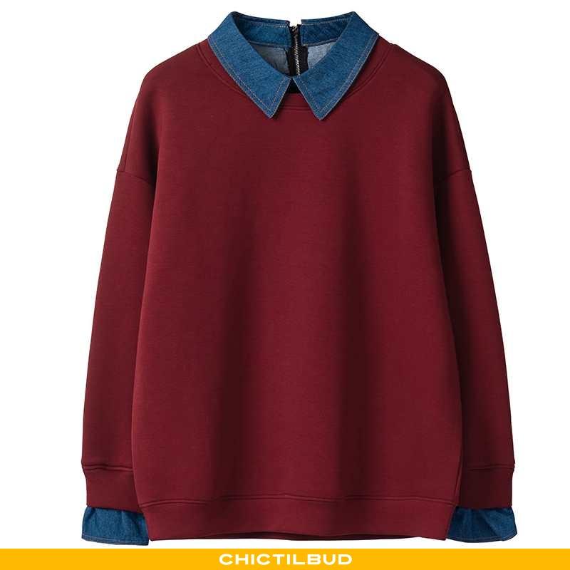 Hættetrøje Dame Mode Pullover Bordeaux