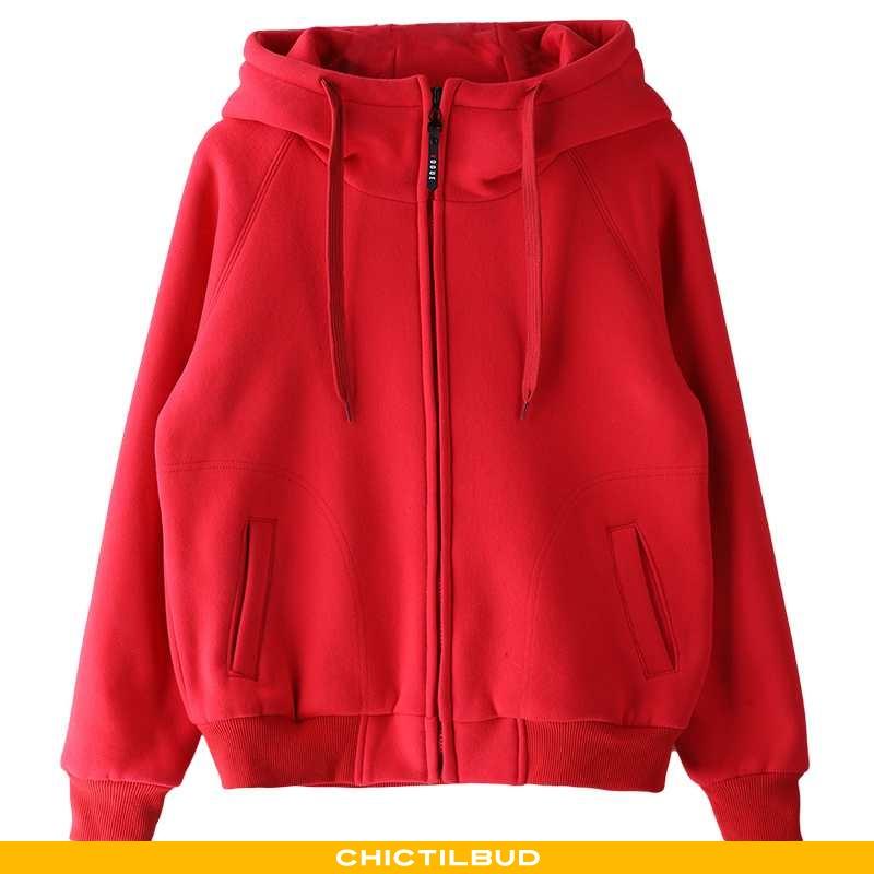 Hættetrøje Dame Vinter Rød
