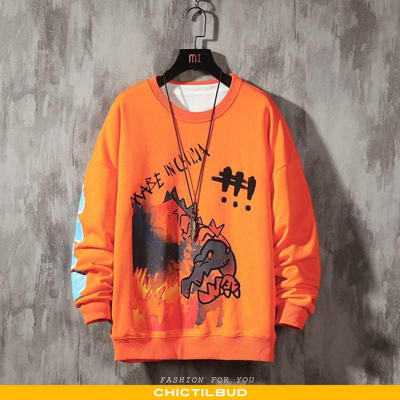 Hættetrøje Herre Bomuld Forårs Orange