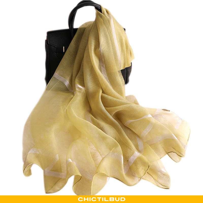 Halstørklæde Dame Silke Mode Tørklæder