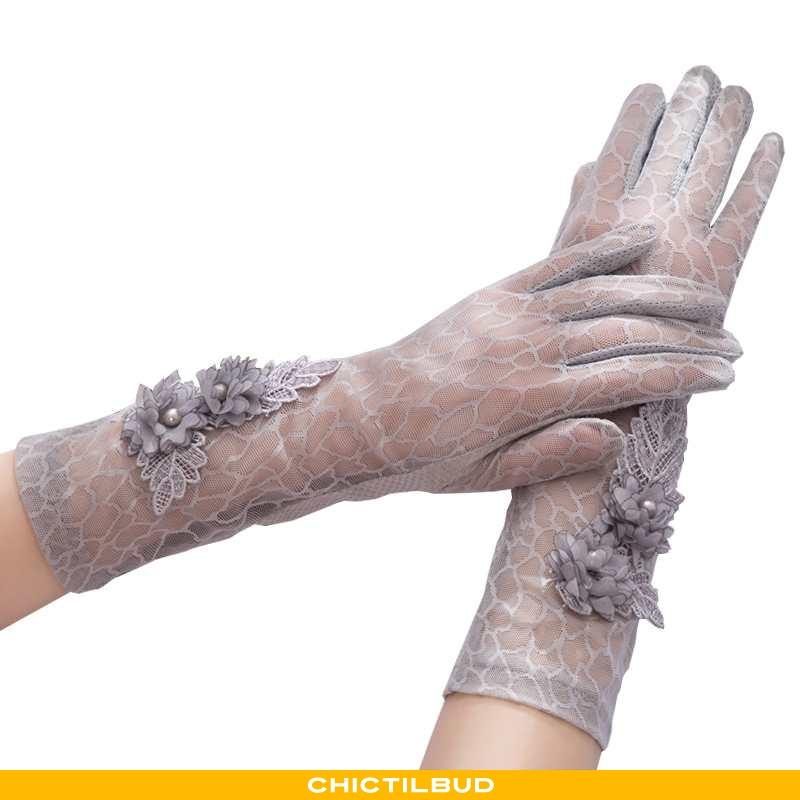 Handsker Dame Blonder Lang Is Silke