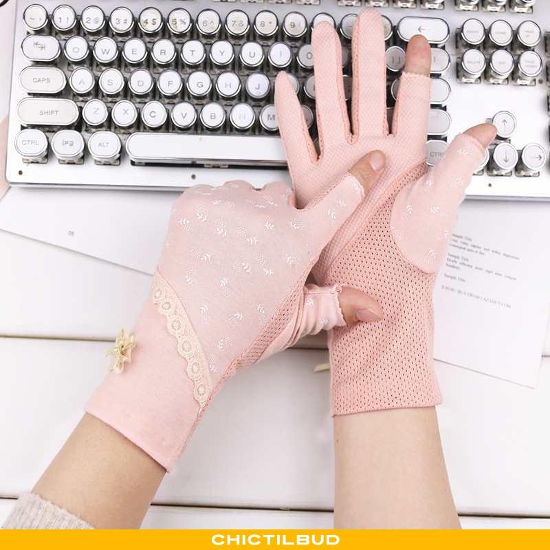 Handsker Dame Bomuld Forårs Halvfinger
