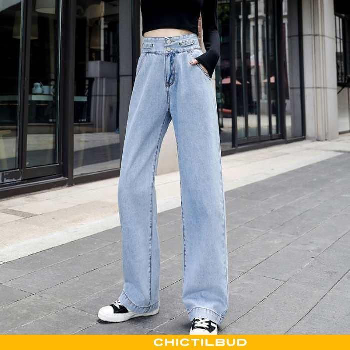 Jeans Dame Bukser Straight Blå