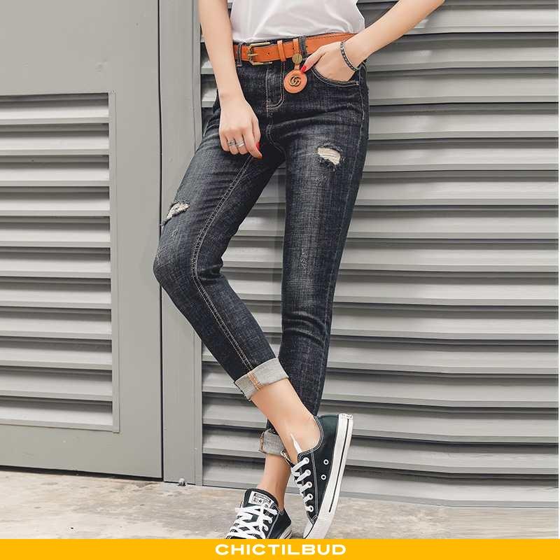 Jeans Dame Cowboybukser Med Huller Sort