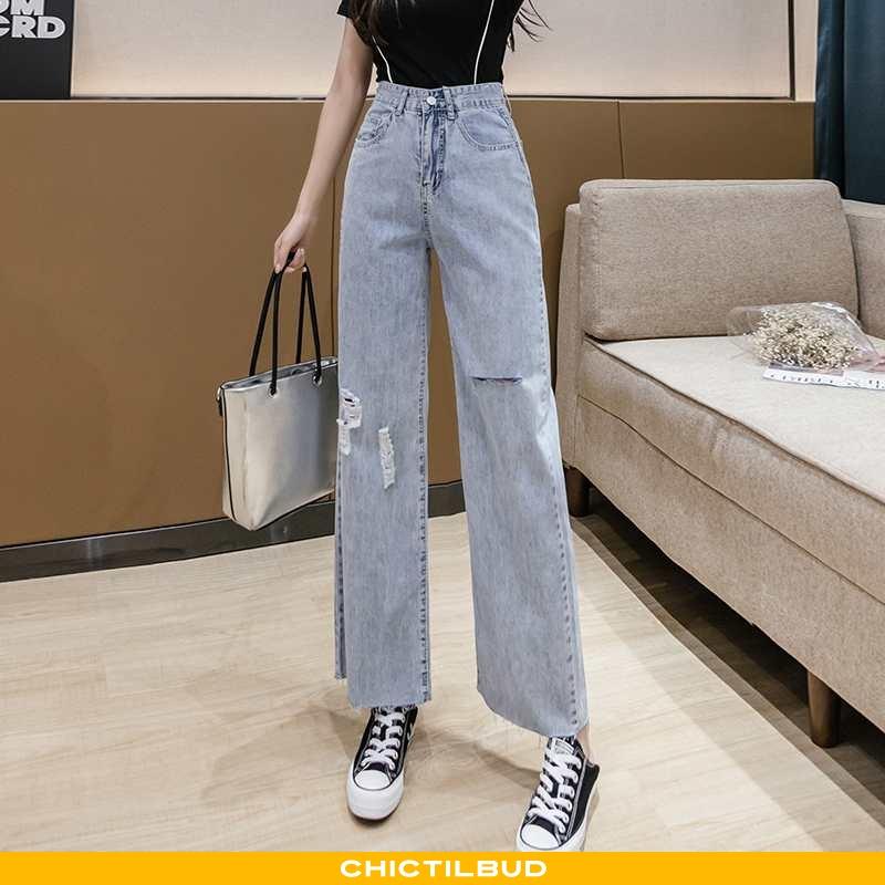 Jeans Dame Cowboybukser Straight Blå