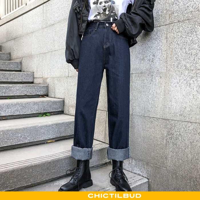 Jeans Dame Cowboybukser Straight Kvinder