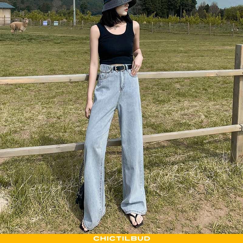 Jeans Dame Cowboybukser Tynd Blå