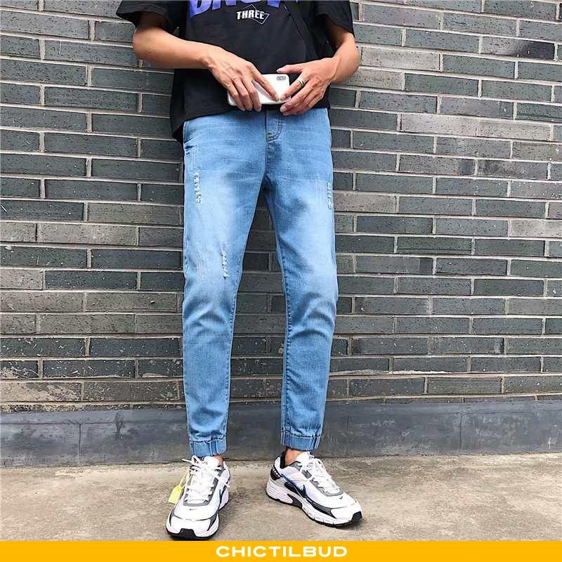 Jeans Herre Bukser Elastiske Stramme