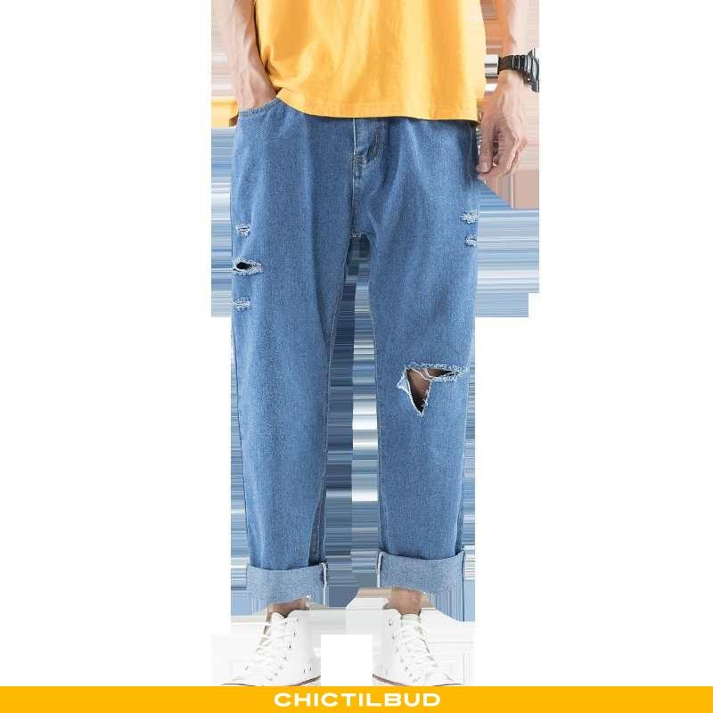 Jeans Herre Cowboybukser Med Huller Ny
