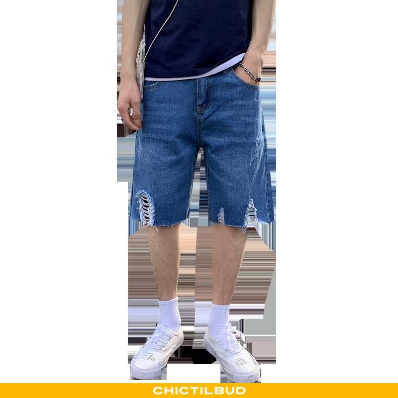 Jeans Herre Shorts Denim Stretch Mørkeblå