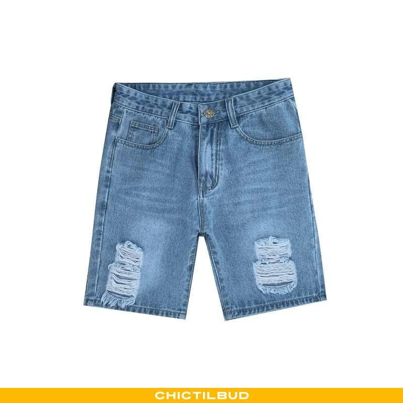 Jeans Herre Shorts Denim Tynd Blå