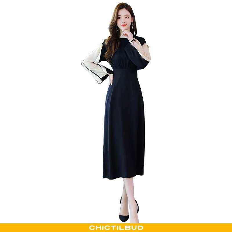 Kjoler Dame Elegante 2020 Mørkeblå