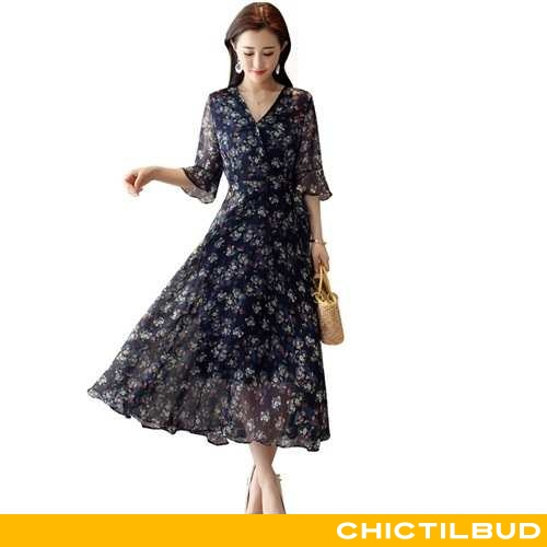 Kjoler Dame Kjole Chiffon Kortærmet 2020