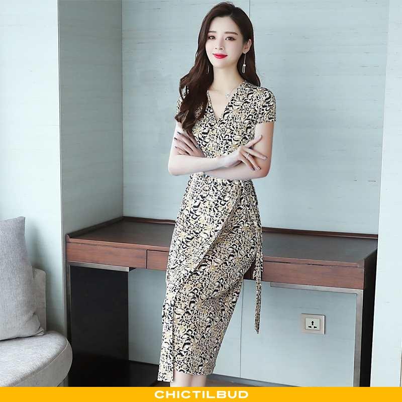 Kjoler Dame Kjole Leopard Midten