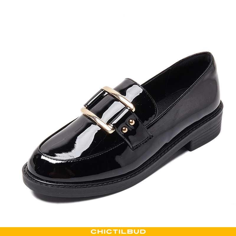 Loafers Dame Enkelt Sko Flade Britisk