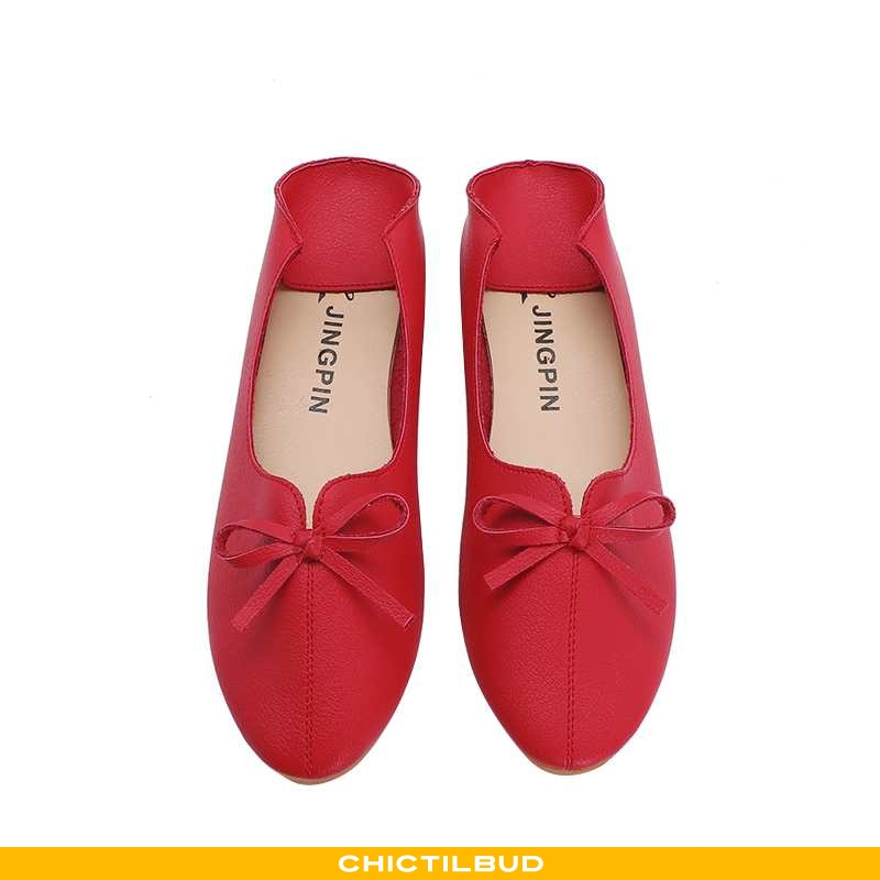 Loafers Dame Enkelt Sko Læder Behagelige Skridsikre