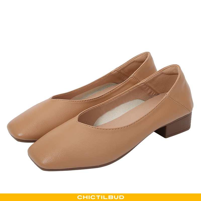 Loafers Dame Enkelt Sko Læder Vintage Khaki
