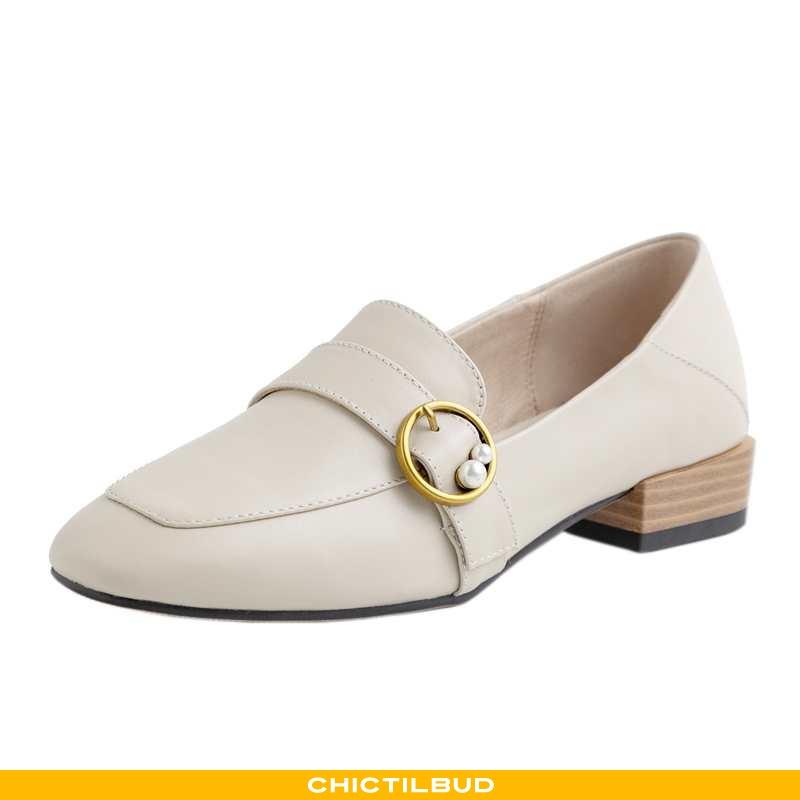 Loafers Dame Mokkasin Læder Flade Hvid