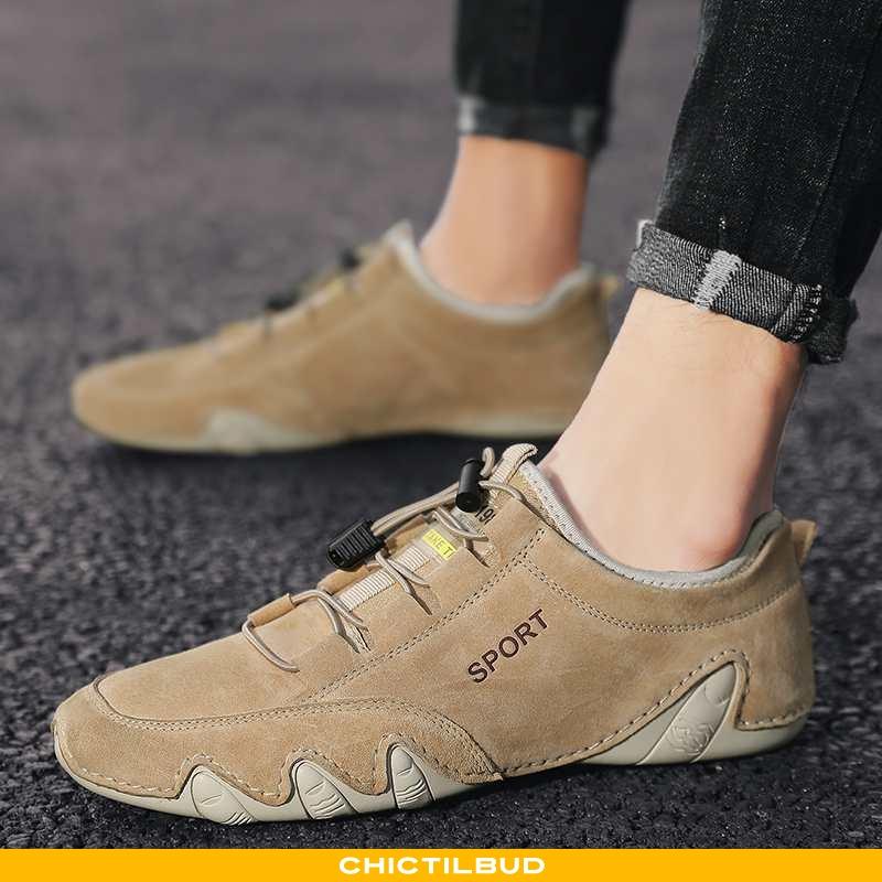 Loafers Herre Lædersko Læder Sommer Khaki