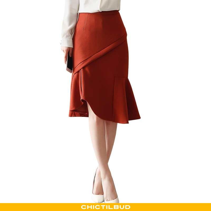 Nederdel Dame Elegante Ren Rød