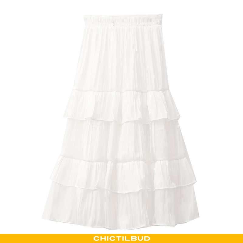 Nederdel Dame Lang Hvid