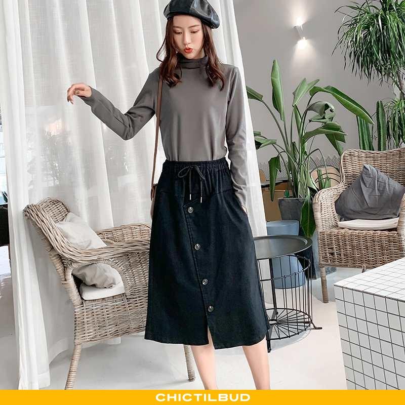 Nederdel Dame Mode Personlighed Sort