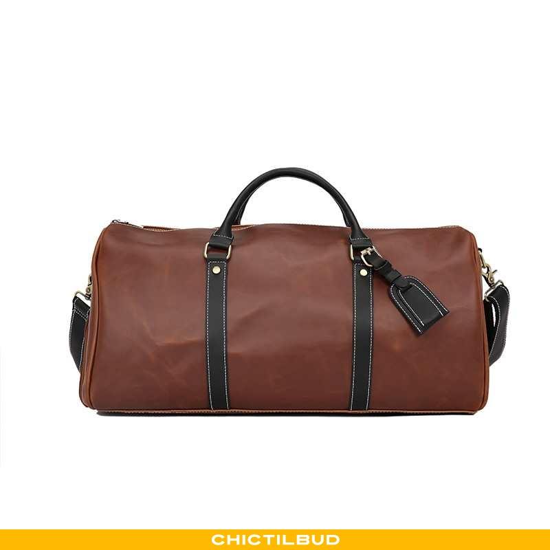 Rejsetaske Herre Håndtaske Læder Vintage Stor Kapacitet