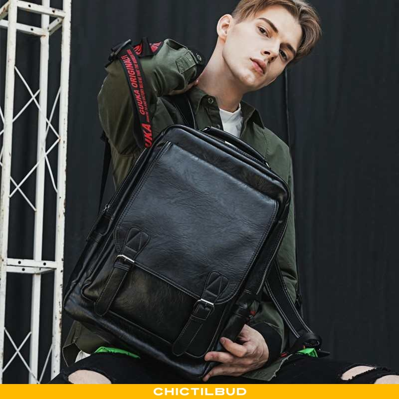 Rygsæk Herre Skoletaske Læder Mode Sort