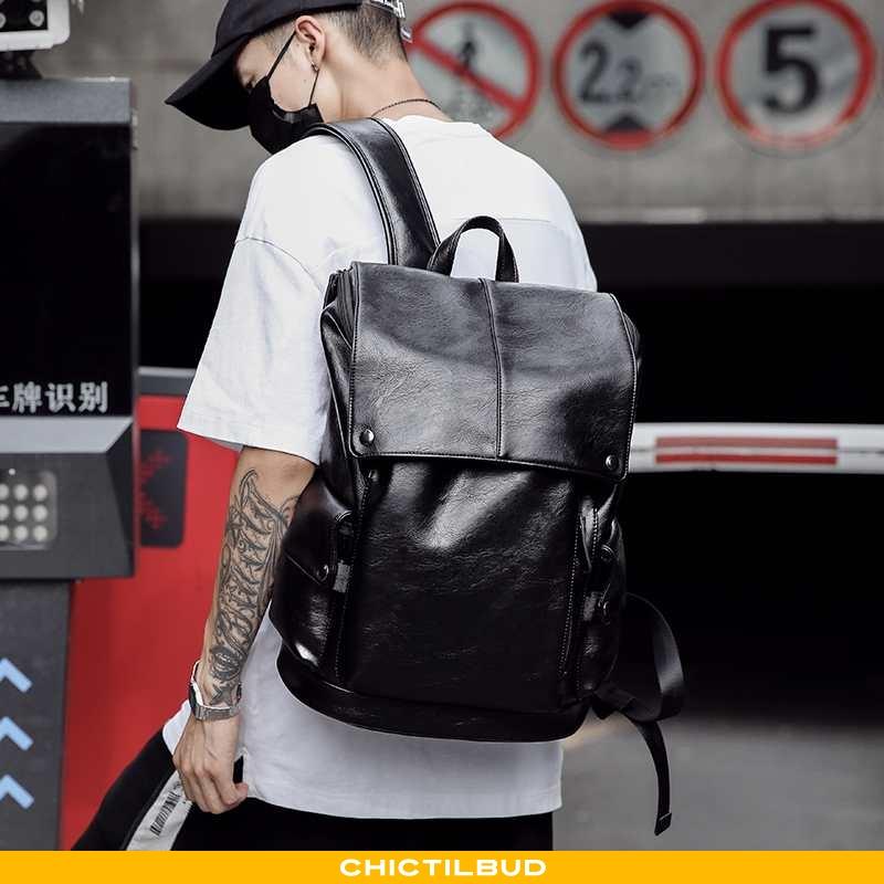 Rygsæk Herre Skoletaske Læder Mode Studerende