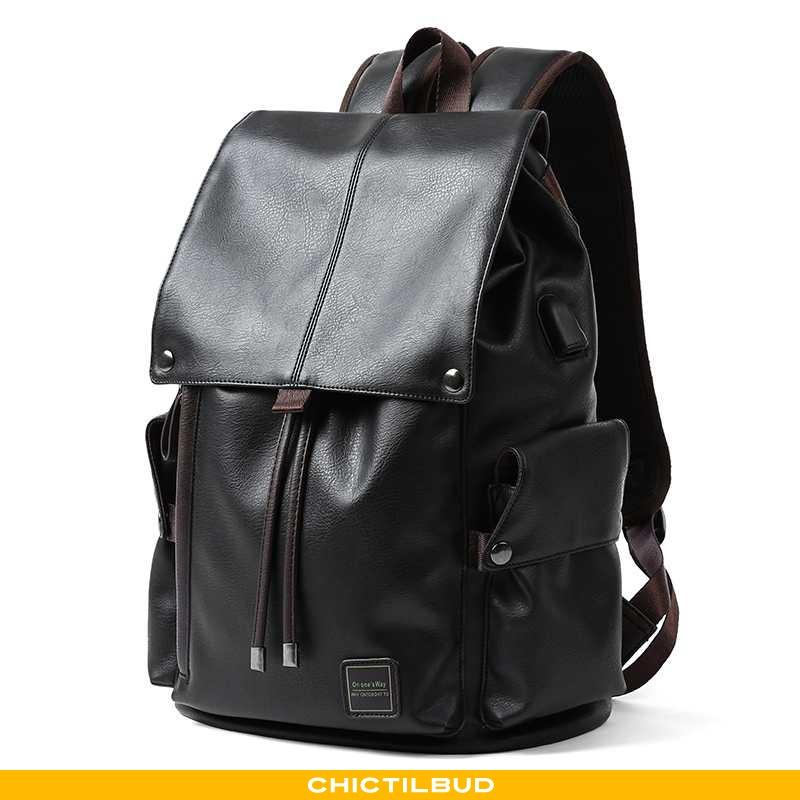 Rygsæk Herre Skoletaske Læder Rejsetaske Simple