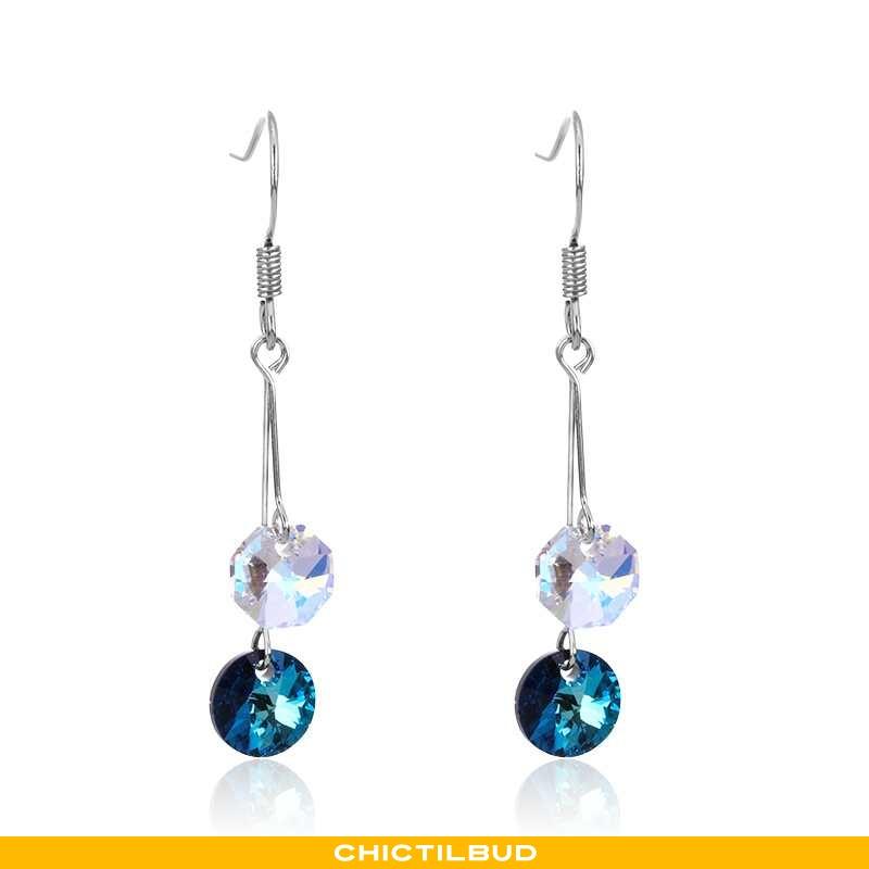 Sølv Smykker Dame Kvaster Simple Blå