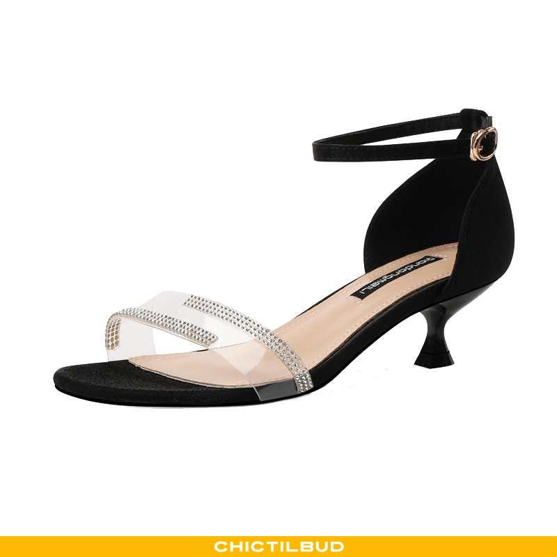 Sandaler Dame Designer Midten Sort