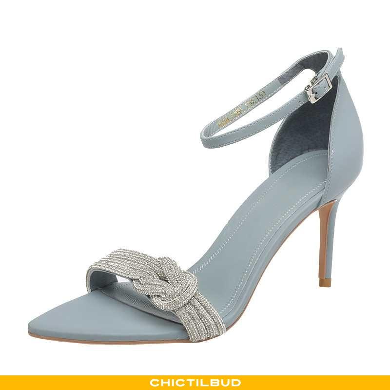 Sandaler Dame Enkelt Sko Læder Højhælede Europa